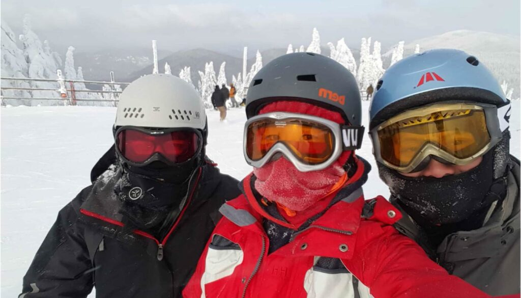 Maria and friends posing at Mt Tremblant, Montreal