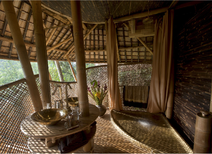 Shower View of Sunrise House, Green Village, Bali, Indonesia. The shower has a panoramic view of the jungle as well.