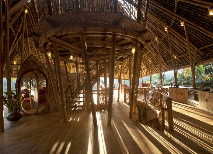 Main Floor of Sunrise House, Green Village, Bali, Indonesia. The main floor has a panoramic view of the jungle which makes cooking in the fully equipped kitchen a joy.