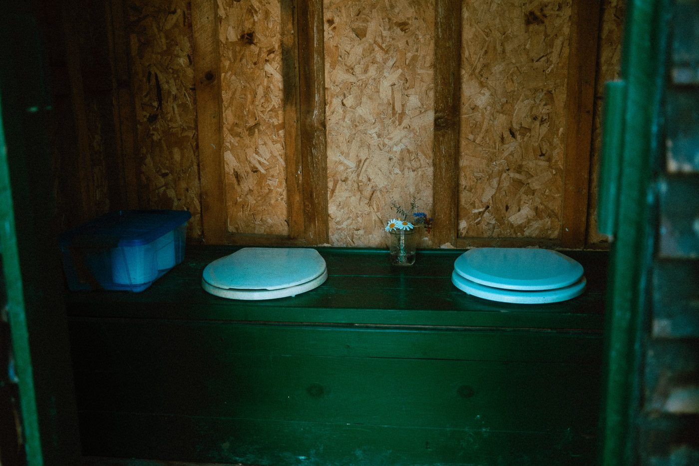 Interior view of dedicated outhouse for glamping tent guests of Pine Falls Lodge, located in the Greater Sudbury Area (Markstay-Warren)