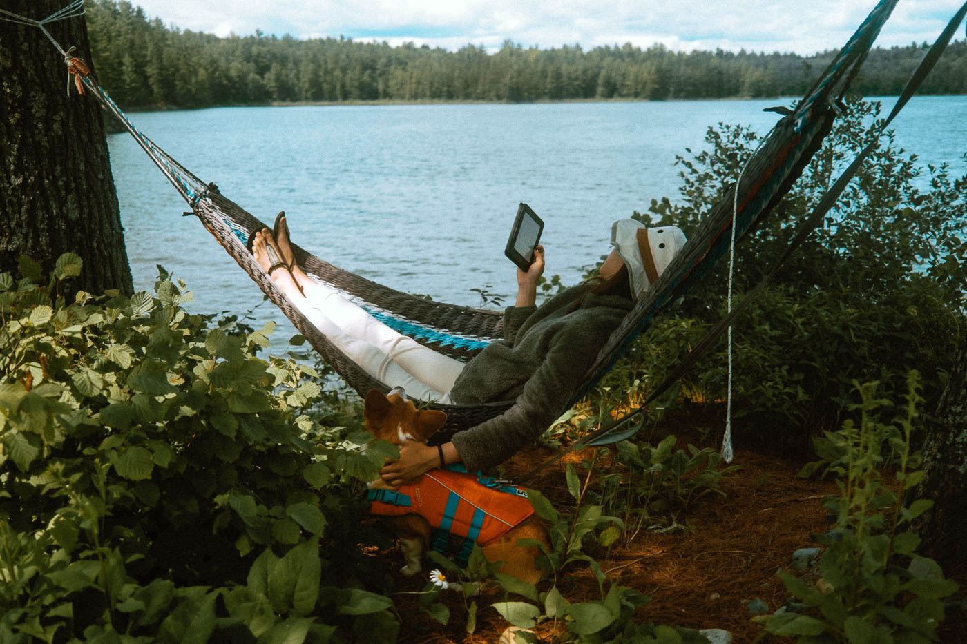 Reading on a hammock with a dog overlooking Murray Lake at Pine Falls Lodge
