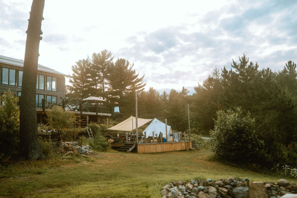 What to expect when glamping at Pine Falls Lodge located in the Greater Sudbury Area (Markstay-Warren)