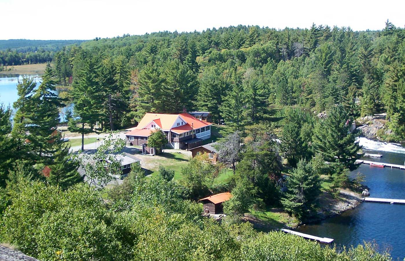View of Pine Falls Lodge from nearby cliff